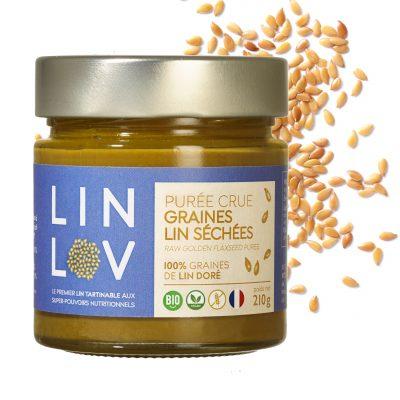 Une petite cuillère de la purée crue 100% graines de lin LIN LOV suffit à faire le plein en Oméga 3 et nutriments essentiels