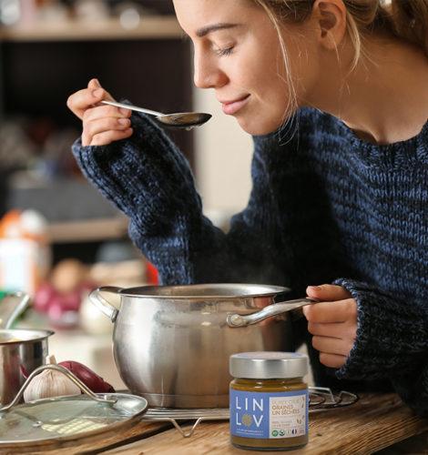 PURÉE 100% LIN idéal dans les soupes maison, ou pas, pour un petit goût de noisette et plus d'onctuosité