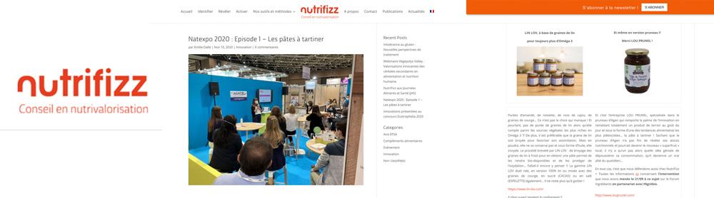 Nutrifizz parle des lins tartinables LIN LOV