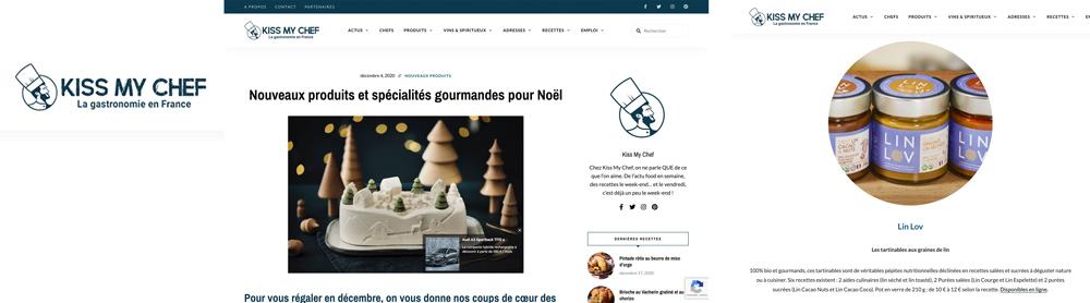 L'e-magazine Kiss my Chef parle de nos Les tartinables aux graines de lin