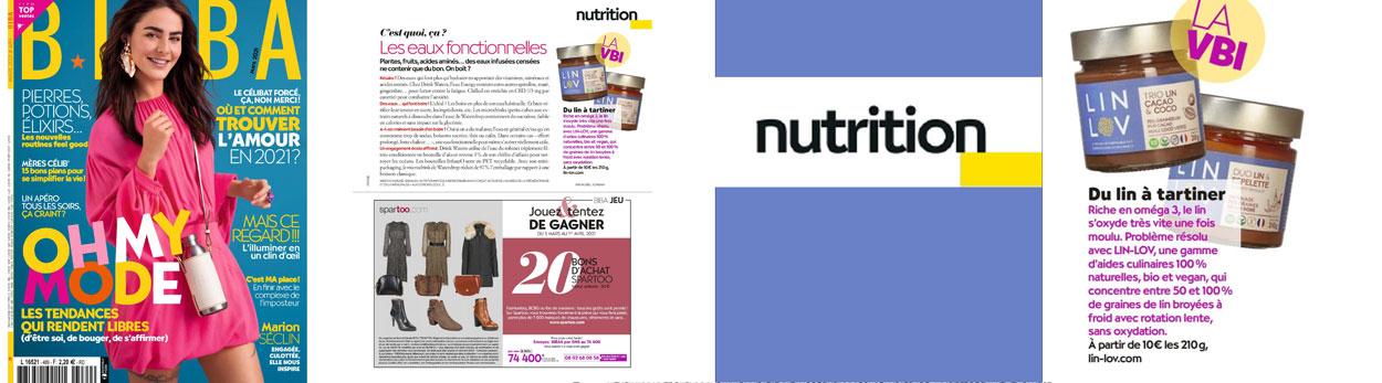 Biba de mars 2021 parle de nutrition et de LIN LOV