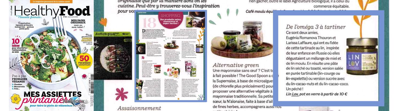 HEALTHY FOOD parle des lins tartinables LIN LOV dans son numéro de mars avril 2021