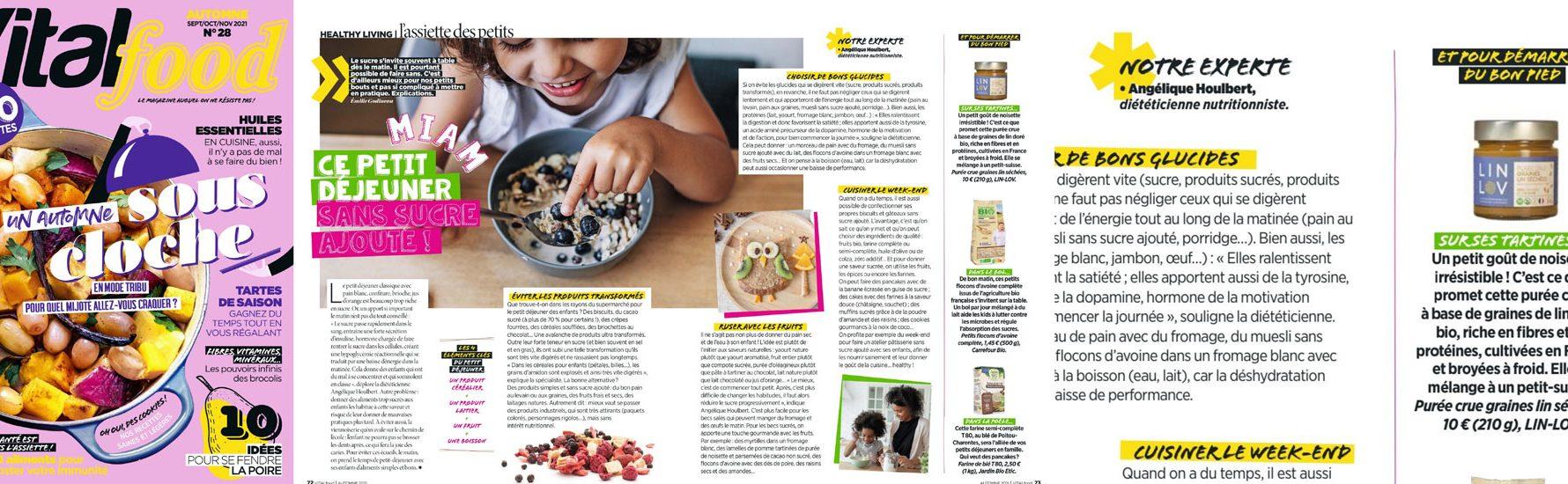 LIN LOV fait partie des recommandations de Vital Food septembre 2021